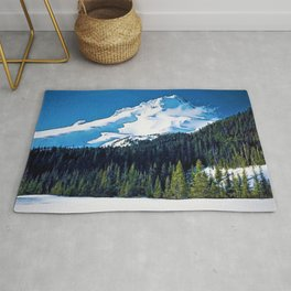 Mount Hood, Oregon Winter Landscape by Jeanpaul Ferro Rug