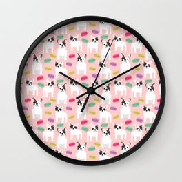 French Bulldog macaron paris cute puppy frenchie gifts for dog breed owner pet friendly custom dog Wall Clock