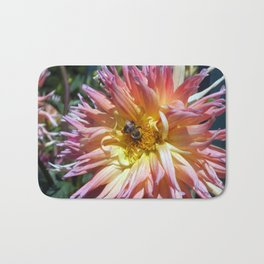 The Apricot Dahlia And The Bee Bath Mat