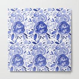 Watercolor roses bouquet - blue Metal Print