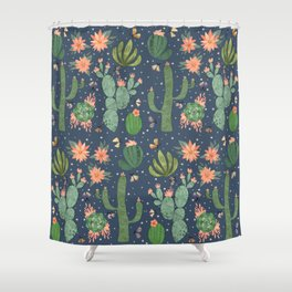 Succulents in Blue Shower Curtain