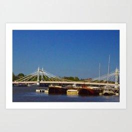 Albert Bridge on the Thames in London Art Print