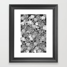 Vintage Roses Black And White Framed Art Print