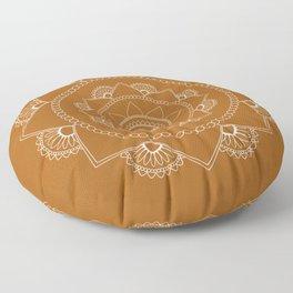 Mandala 01 - White on Chestnut Brown Floor Pillow