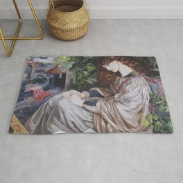 Vintage The Pia of Tolomei by Dante Gabriel Rossetti 1880 Rug