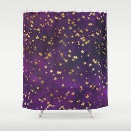 Dark Purple Gold Stars Shower Curtain