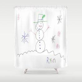 Snowman in a Flurry Shower Curtain