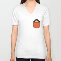 pocket V-neck T-shirts featuring Pocket Penguin by Steven Toang