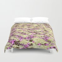 rug Duvet Covers featuring Flowers Rug by Lia Bernini
