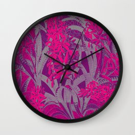Colorful PINK Flowers Wallpaper design Wall Clock