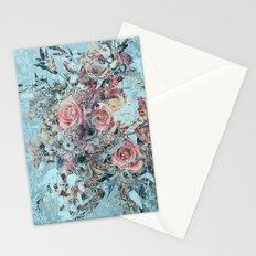 Lush vintage floral pastel wood panel Stationery Cards