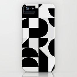 Modern Geometry / Minimal, Black, White, Grey iPhone Case