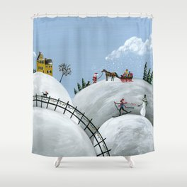 Hilly Holiday Shower Curtain