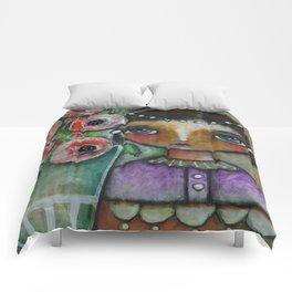 Eastern peony girl Comforters