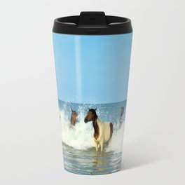 Wild Horses Swimming in Ocean Travel Mug