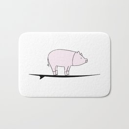 Surfing Pig Bath Mat