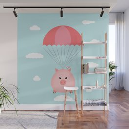 Baby Pig in a Parachute Wall Mural
