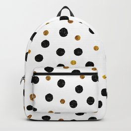 Black & Gold Glitter Confetti on white background- Elegant pattern Backpack