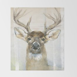 White-tailed Deer Surrounded By Birch Throw Blanket