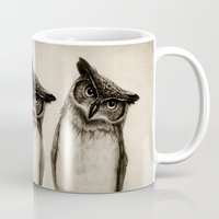 paper Mugs featuring Owl Sketch by Isaiah K. Stephens