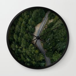 NATURE - PHOTOGRAPHY - FOREST - HIGHWAY - ROAD - TRIP - TREES Wall Clock