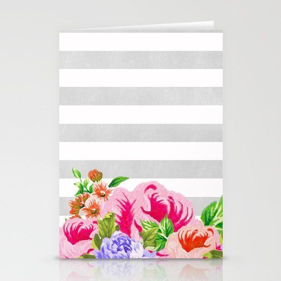 FLORAL GRAY STRIPES Stationery Cards