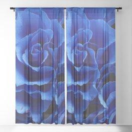Blue Roses Flowers Plant Romance Sheer Curtain