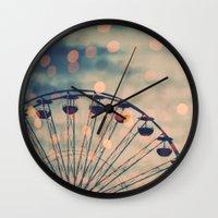 ferris wheel Wall Clocks featuring Ferris Wheel by Juste Pixx Photography