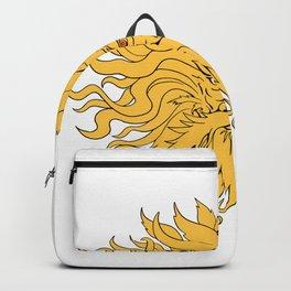 Helios Greek God of Sun Head Drawing Color Backpack