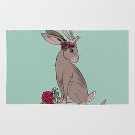 Pretty but fierce jackalope with flowers Rug
