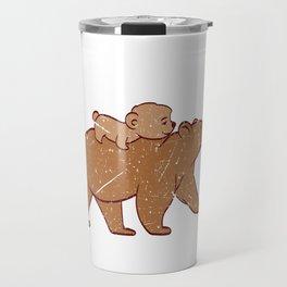 Papa Bear Dad Grandpa Father Parenting Father's Day Daddy Parent T-shirt Design Polar North Pole Travel Mug