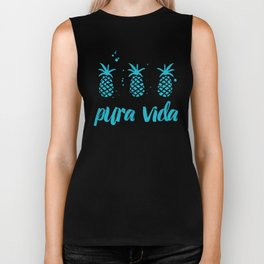 Pura Vida Pineapples in Blue Biker Tank