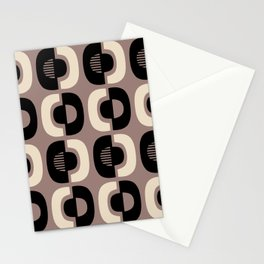Retro Mid Century Modern Pattern 115 Black and Beige Stationery Cards