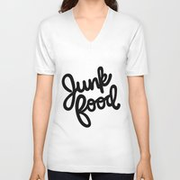 junk food V-neck T-shirts featuring Junk Food by mellanid