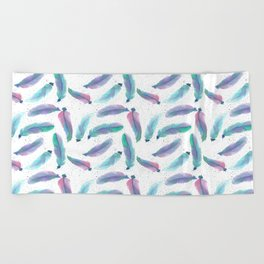 Watercolor Feathers Beach Towel