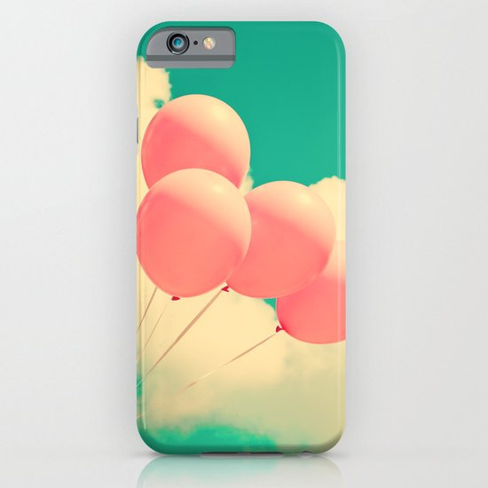 Happy Pink Balloons on retro blue sky  iPhone & iPod Case
