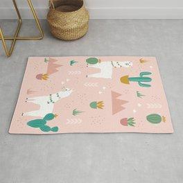 Llamas + Cacti on Pink Rug