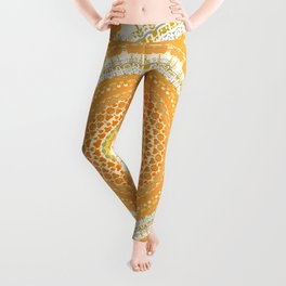 Marigold Orange Mandala Design Leggings