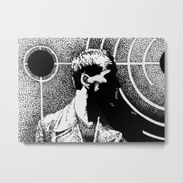 The Ninth Doctor From Dr Who Stands in Front of a Pattern of Circles Metal Print