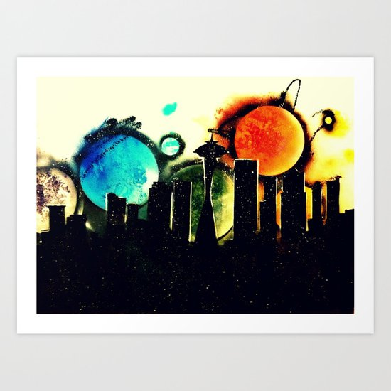 Seattle Silhouette   Art Print