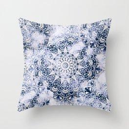 MANDALA WONDERLAND IN BLUE Throw Pillow