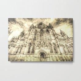 York Minster Cathedral Vintage Metal Print