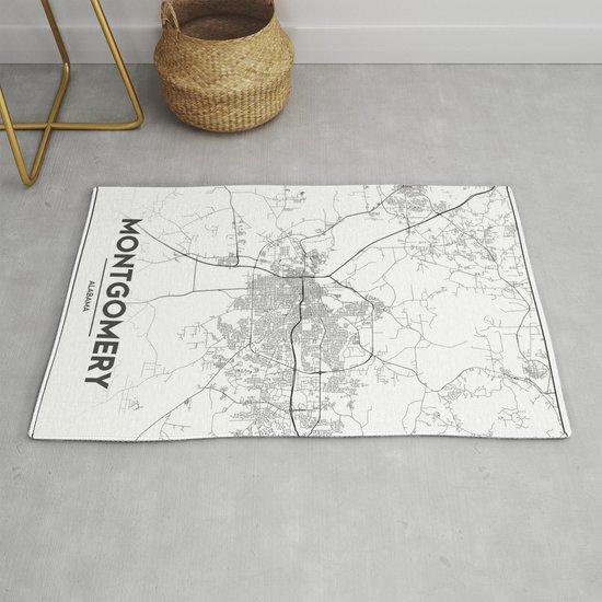 Minimal City Maps Map Of Montgomery Alabama United States Rug By Valsymot Society6