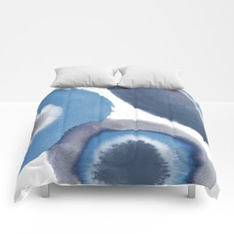 Abstract Blue Watercolor Circles Comforters