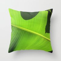 banana leaf Throw Pillows featuring Banana Leaf, Dark Shadows by Glenn Designs