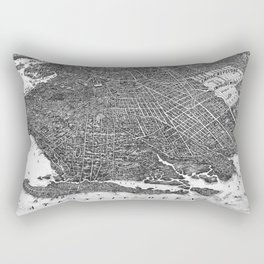 Vintage Map of Brooklyn NY (1908) BW Rectangular Pillow