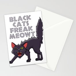"Happy Halloween Shirt For October November Cat Animals ""Black Cats Freak Meowt"" T-shirt Design Stationery Cards"