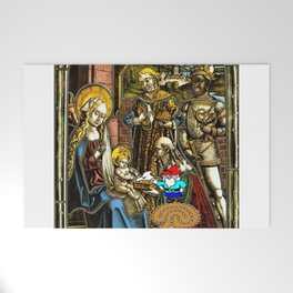 Will the Wandering Gnome Shares a White Hat with Jesus (Gnome Art) (Christmas Art) Welcome Mat