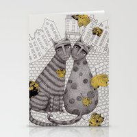 hats Stationery Cards featuring Two Cats Without Hats by Judith Clay