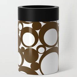 Brown Geometric Abstract Modern Circle Art Can Cooler